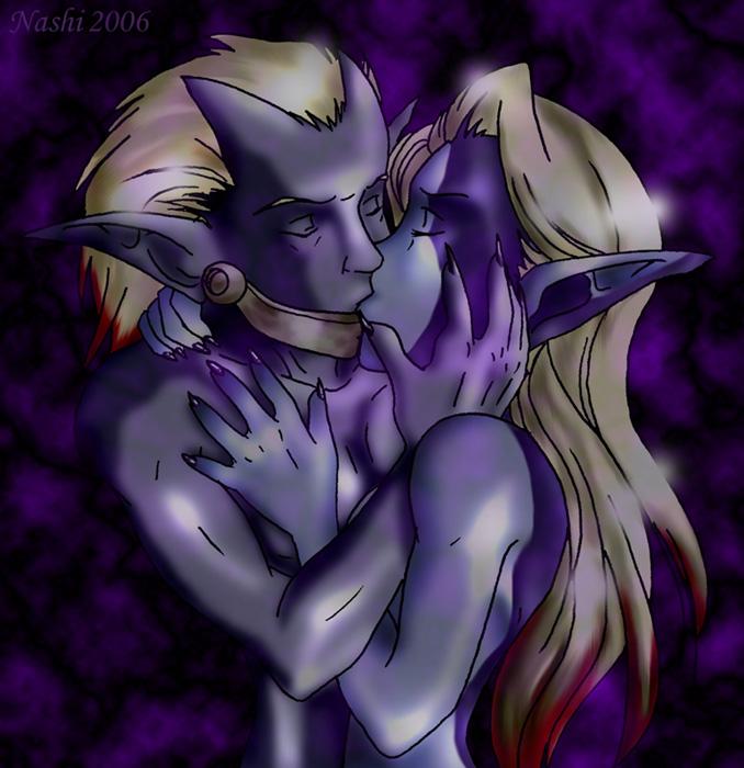 wakfu kiss amalia and yugo Red haired half elf male